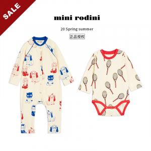 20春夏 Mini Rodini 宝宝婴儿包屁衣新生儿可爱连体服爬服有机棉