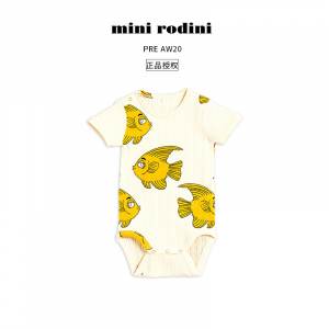 Mini Rodini 夏季宝宝婴儿包屁衣连体服小鱼印花短袖可爱ins
