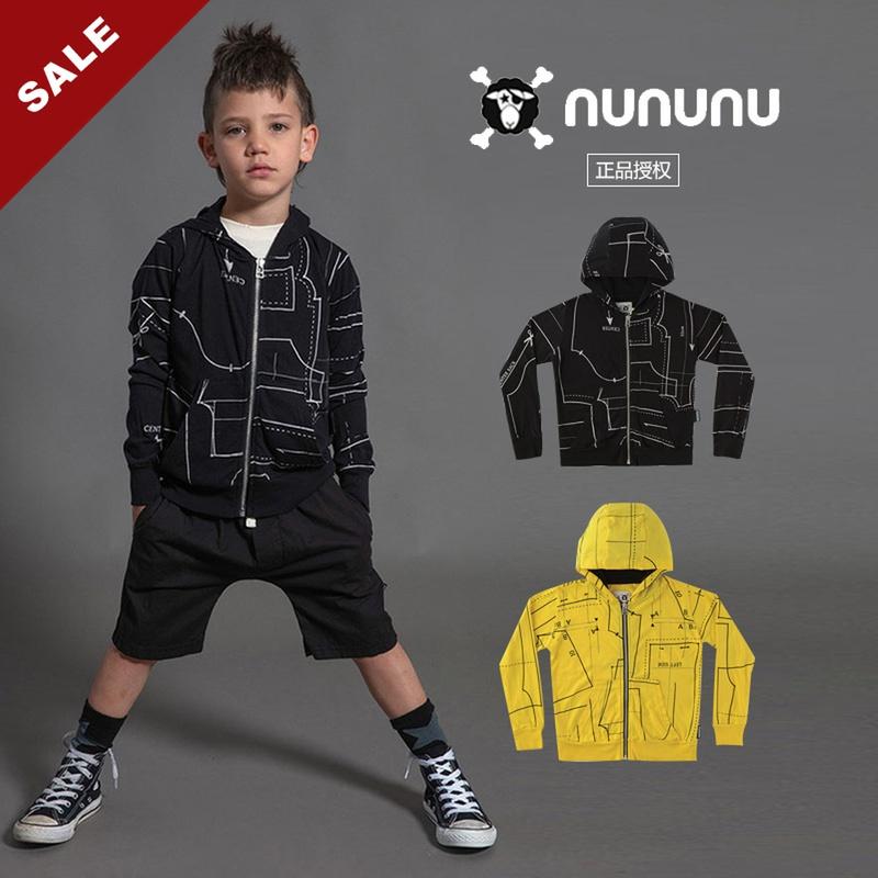20春夏NUNUNU 儿童夹克薄款外套上衣撞色连帽卫衣超酷