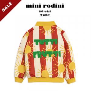 19早秋冬Mini Rodini儿童太阳条纹外套夹克拉链衫运动棒球服潮ins