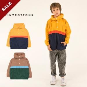 20春夏西班牙tinycottons 儿童套头连帽风衣夹克撞色拼接防水