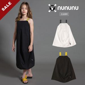 20春夏NUNUNU 女童个性简约吊带长裙无袖连衣裙个性黑白超酷棉